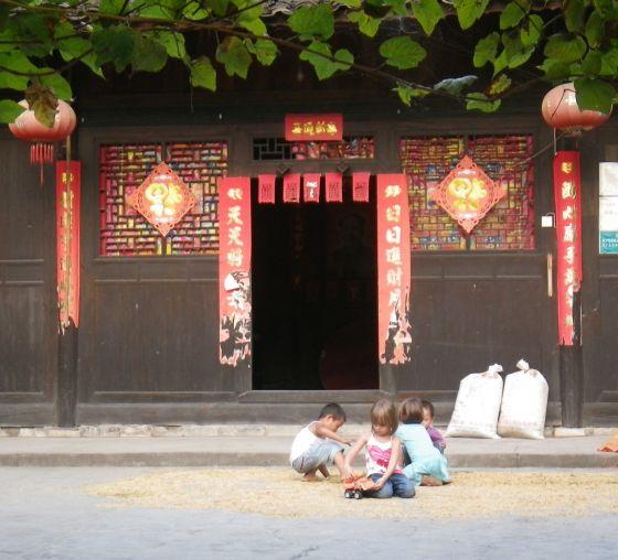 Kids in rice