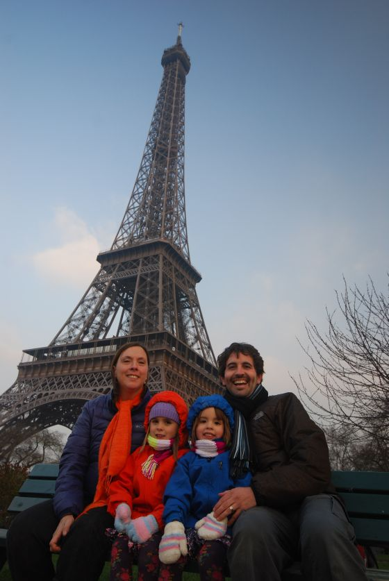 Family at the Eiffel tower