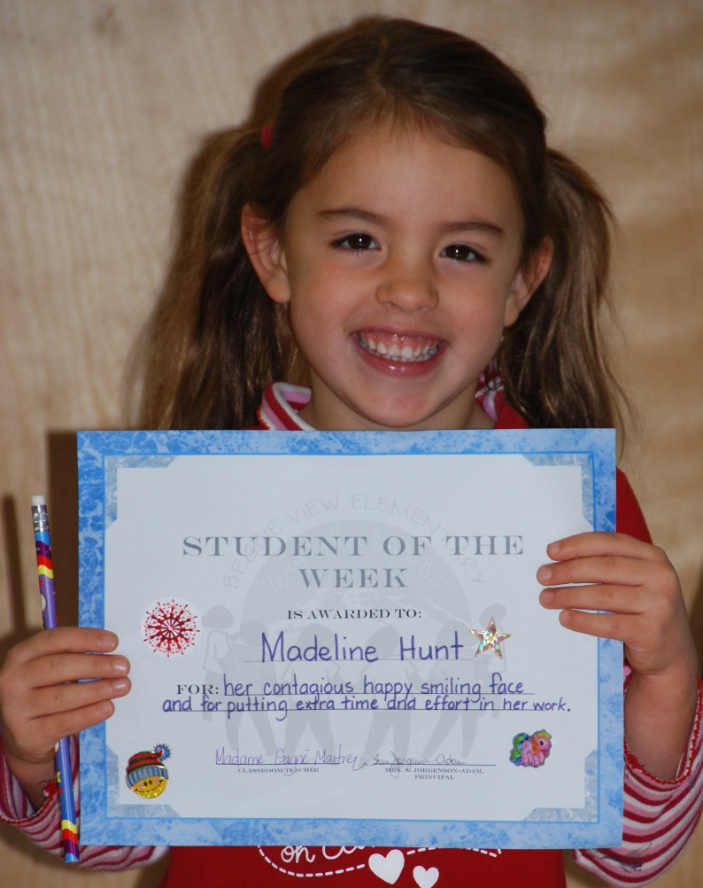 Maddie student of the week